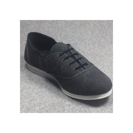 Chaussures Sneakers Oxford noires vue générale semelles cuir suédé