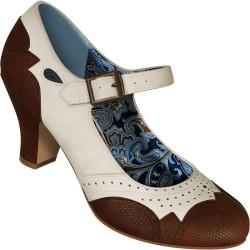 Chaussures Mary Jane simili lézard ivoire et marron
