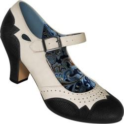 Chaussures Mary Jane simili lézard ivoire et noir